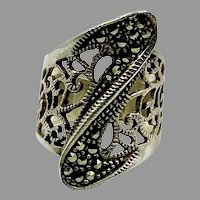 Marcasite Ring, Ornate Ring, Sterling Silver Ring, Vintage Ring, Size 6, Long, Wide