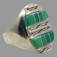 Turquoise Ring, Green Turquoise, Sterling Silver, Vintage Ring, Size 11, Massive, Inlaid, Inlay, Handcrafted