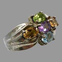 Gemstone Ring, Vintage Ring, Amethyst, Peridot, Citrine, Sterling Silver, Vintage Ring, Size 6 1/2, Purple, Blue