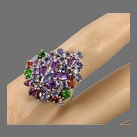 Gemstone Ring, Amethyst, Iolite, Garnet, Sterling Silver, Vintage Ring, Chrome Diopside, Cluster, Size 8 1/2, Unique, Unusual, Big