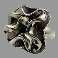 Modern Ring, Abstract Flower, Unique, Sterling Silver, Vintage Ring, Size 6, Thailand, Huge, Statement, Artisan, Contemporary, Unusual