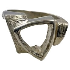Modern Ring, Sterling Silver, Vintage Ring, Size 8 1/2, Geometric, Contemporary, Chunky, Minimalist, Big, NOS