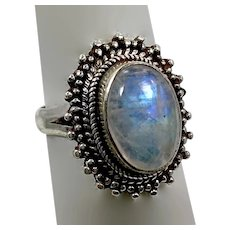 Moonstone Ring, Sterling Silver, Vintage Ring, Blue Stone, Size 7 1/2, Ethnic Style, Boho Bohemian
