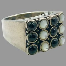 Black Onyx Ring, Mother of Pearl, Sterling Silver, Vintage Ring, Big, Size 6, Thailand, Ethnic, Boho