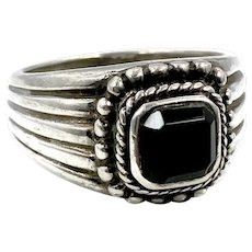 Black Onyx Ring, Sterling Silver, Signet Style, Vintage Ring, Size 8 1/2, Unisex, Mans, Mens