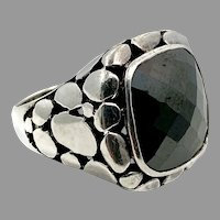 Black Onyx Ring, Sterling Silver, Vintage Ring, Statement, Nugget, Modernist, Pebbled, Size 8 1/2