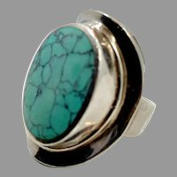 Turquoise Ring, Sterling Silver, Vintage Ring, Big Stone, Size 8 1/2, Large, Statement