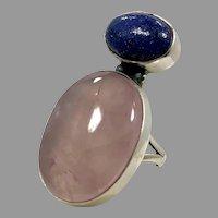 Rose Quartz Ring, Blue Lapis, Sterling Silver, Big Statement, Vintage Ring, Size 7, Long, Big Stone