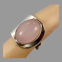 Rose Quartz Ring, Sterling Silver, Vintage Ring, Size 7, Adjustable, Big Stone, Pink Ring, Boho, Bohemian