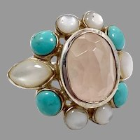 Rose Quartz Ring, Mother of Pearl, Turquoise, Sterling Silver, Pink Stone, Vintage Ring, Shell, Size 5 1/2, Thailand