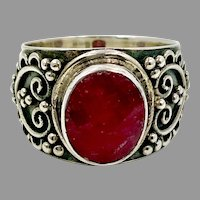 Ruby Ring, Sterling Silver, Hearts, Vintage Ring, Size 8, Corundum Ruby, Red Stone, Red Ring, Bali Style, Ethnic