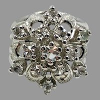 Crystal Flower Ring, Snowflake, Sterling Silver, Vintage Ring, Size 6 1/2, Cluster Ring