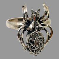 Spider Ring, Vintage Ring, Sterling Silver, Poison Ring, Size 9, Gothic Jewelry, Biker Rocker, Unique Creepy, Odd, Strange