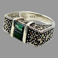 Marcasite Ring, Green Spinel, Sterling Silver, Vintage Jewelry, Size 6 1/2, Unique, Art Deco Style