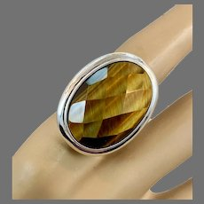 Tiger Eye Ring, Sterling Silver, Vintage Ring, Large Stone, Big Statement, Size 7 1/2, Checkerboard Faceted, Big Stone