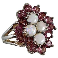 Opal Ring, Tourmaline Ring, Pink Stones, Sterling Silver, Vintage Ring, Size 8 1/2, Cluster Ring, Big, Wide, Pink Ring