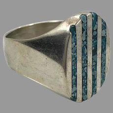 Turquoise Ring, Sterling Silver, Vintage Ring, Mexico, Size 10, Inlaid, Inlay, Big, Mens, Mans Ring