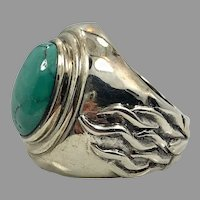 Turquoise Ring, Flames, Sterling Silver, Vintage Ring, Big Stone, Size 7, Unisex, Mens Pinky Ring, Biker, Rocker