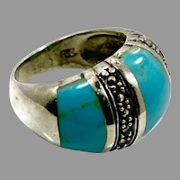 Marcasite Ring, Turquoise, Sterling Silver, Vintage Ring, Size 6, Domed, Wide Ring