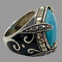 Turquoise Ring, Marcasite, Black Enamel, Sterling Silver, Vintage Ring, Thailand, Size 5 1/2, Robin's Egg Blue, Big, Large, Huge