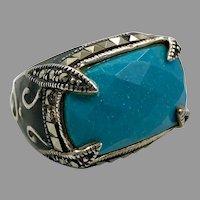 Turquoise Ring, Marcasite, Black Enamel, Sterling Silver, Vintage Ring, Thailand, Size 5 1/2, Robin's Egg Blue, Big, Large, Huge