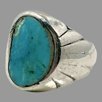 Turquoise Ring, Sterling Silver, Vintage Ring, 9 1/2, Robin's Egg Blue, Large, Big Stone, Mens Ring