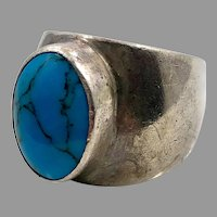 Turquoise Ring, Sterling Silver Ring, Vintage Ring, Mexico, Size 6, Wide, Cigar Band, Unisex, Men's Pinky Ring