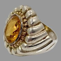 Citrine Ring, Sterling Silver, Vintage Ring, Size 7, Large Stone, Gold Accents, Two Toned, Unisex, Mans Pinky Ring
