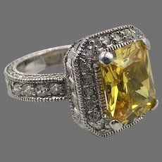 Yellow Ring, Faux Diamond, CZs, Vintage Ring, Sterling Silver, Size 5 1/2, Faux Citrine