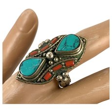 Turquoise Ring, Red Coral, Statement Ring, Nepal Jewelry, Size 10 1/2, Tibetan Silver, Boho Bohemian, Tribal Ethnic, Gypsy, Big, Wide