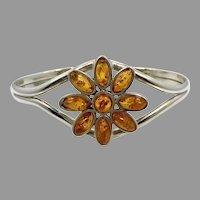 Amber Bracelet, Flower Cuff, Vintage Bracelet, Sterling Silver, Small Wrist, Honey Amber, Baltic Amber