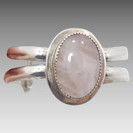 Rose Quartz Bracelet, Pink Stone, Sterling Silver, Vintage Cuff, Pink Gemstone, Big Statement, Large Stone, Boho Bohemian, 925, New Age