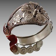 Gypsy Bracelet, Coin Flower, Silver Design, Vintage Bracelet, Belly Dance, Bollywood, Clamper Bangle, Boho Jewelry, Bohemian, Festival