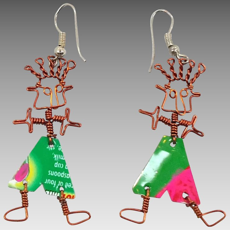 People Earrings, Mixed Media,Copper Wire, Boho Statement, Big Unique ...