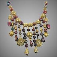 Big Gypsy Boho Necklace - Vintage Beaded Statement Bib - InVintageHeaven