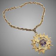 Crest Necklace, Heraldic Necklace, Vintage 60s, Shield, Queen, Royal Lion, Big Statement, Renn SCA, Steampunk, Gold, Blue Enamel