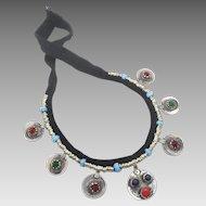 Gypsy Necklace, Afghan Jewelry, Vintage Necklace, Blue Red, Jewels, Kuchi Jewelry, Banjara, Turkomen, Boho Statement, Bohemian, Ethnic