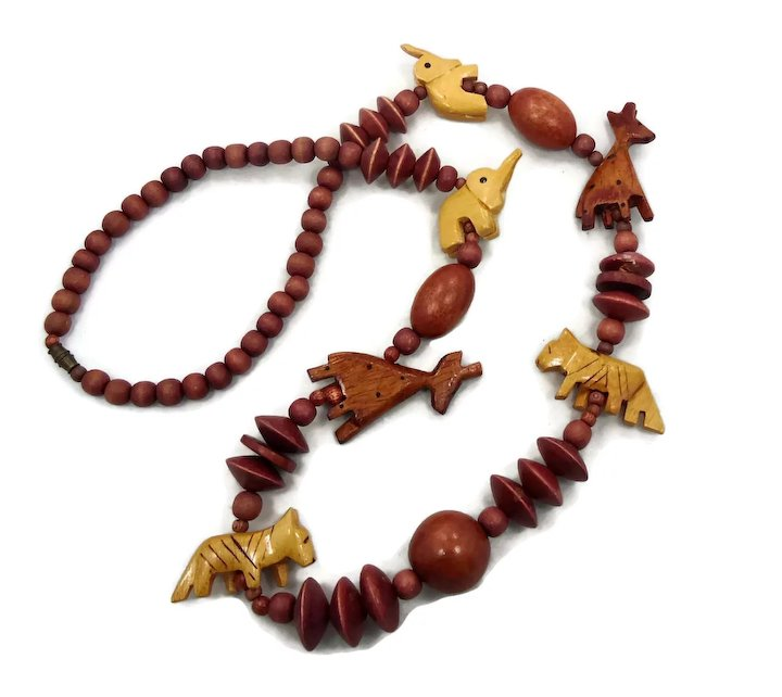 item full giraffe animal carved vintage neckvcarvedanimal necklace elephant wooden african tiger wood