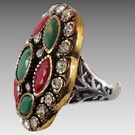 Turkey Ring , Brass Silver, Vintage Ring, Ottoman, Glass Ruby Emerald, Boho Statement, Size 7 1/4, Ethnic Tribal, Red Green, CZs, Big