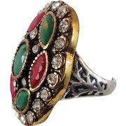 Turkey Ring , Brass Silver, Vintage Ring, Ottoman, Glass Ruby Emerald, Boho Statement, Size 7 1/4, Ethnic Tribal, Red Green, CZs, Big