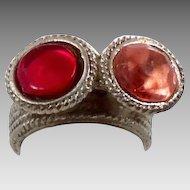 Ethnic Kuchi Ring - Vintage Turkomen Afghan - Fucshia Red & Peach - InVintageHeaven