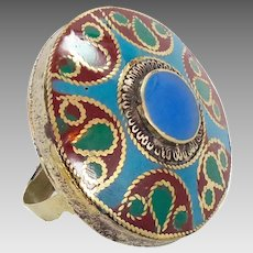 Boho Ring, Big Kuchi Ring, Vintage Ring,Two Finger, Blue Enameled, Afghan Ethnic,Turkish Jewelry, Statement, Brass, Gypsy, Mixed Metals