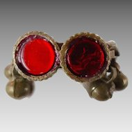 Ethnic Ring, Kuchi Vintage Ring, Turkmen Afghan, Mixed Metal, Red Glass, Statement Ring, Size 9. Boho Bohemian, Gypsy, Stacking Ring