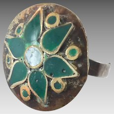 Green Enameled Gypsy Ring - Afghan Ethnic Bedouin - Size 9.5 - InVintageHeaven