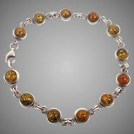 Amber Bracelet, Honey Amber, Sterling Silver, Vintage Bracelet, Links Linked, Vintage Jewelry, 925, Round Stones, Amber Linked, Vintage