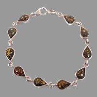 Amber Bracelet, Green Amber, Sterling Silver, Vintage Bracelet, Links Linked, Vintage Jewelry, 925, Tear Drop Stones, Amber Linked