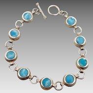 Larimar Bracelet, Sterling Silver, Vintage Bracelet, Mexico, 925, Dolphin Stone, Links Linked, Blue Stones, Atlantis Stone, Stefilia, Boho