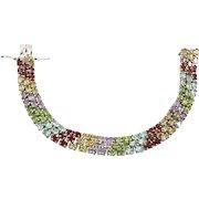 Wide, Gemstone Bracelet, Peridot Citrine, Garnet Amethyst, Blue Topaz, Sterling Silver Bracelet, Links Linked, Vintage Bracelet, Mixed