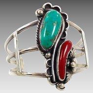 Turquoise Bracelet, Coral, Sterling Silver, Cuff Bracelet, Vintage Bracelet, Native American, Small Wrist
