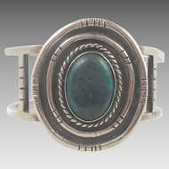 Heavy Green Turquoise Sterling Silver Cuff Bracelet - 74.4 grams - Vintage Native American - InVintageHeaven
